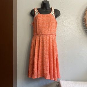 Doe & Rae Orange and Cream/Off White Dress